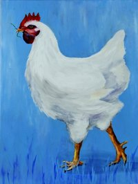 "Painting Chicken ""Liesel"", art print"